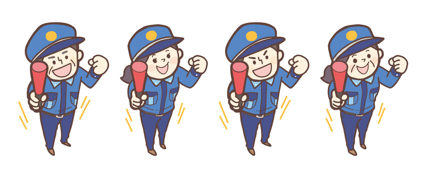 Male and female security guard <set>