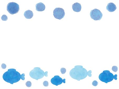 魚框架水彩