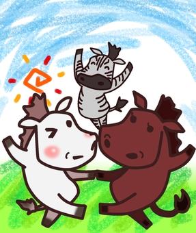 馬ダンス(集合+背景)