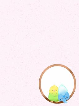 잉꼬 2 마리 (핑크)