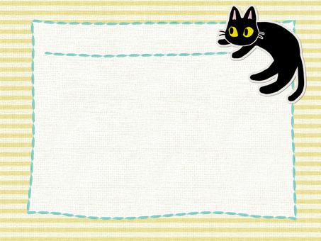Black cat cotton card (yellow)