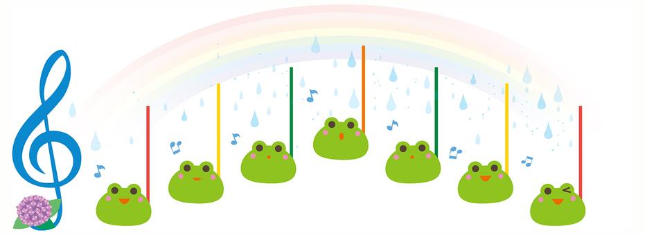 Frog noodle picture note illustration