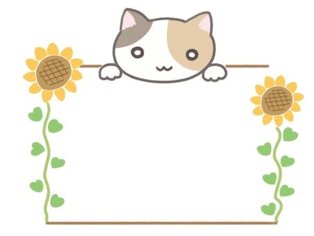 Sunflower and cat summer frame