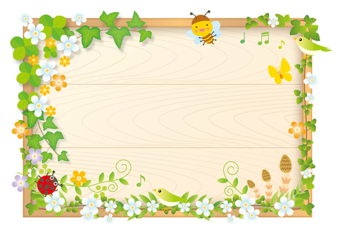 Bulletin board of spring wood frame wood grain