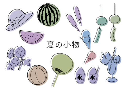 Hand-drawn accessories (summer material 01)