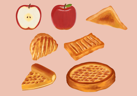 Apple pie and apple illustration set