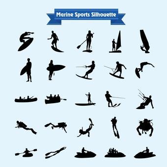 Marine sports silhouette