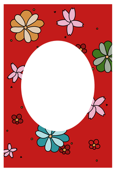 Japanese-style flower postcard (red)