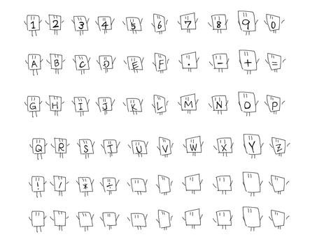 Numbers, English, symbols