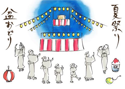 夏祭りや盆踊りをする浴衣の人々 男女