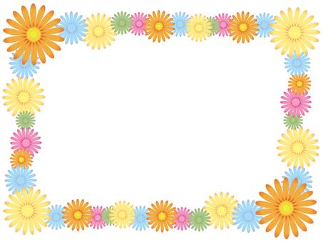 Colorful flower decorative frame