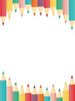 色鉛筆が上下に並んだフレーム・背景