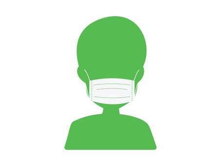 Illustration of wearing a mask (green)