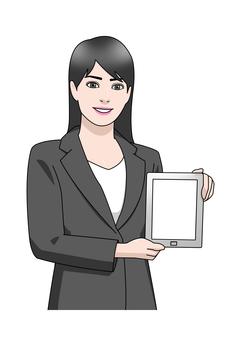 Business suit woman tablet