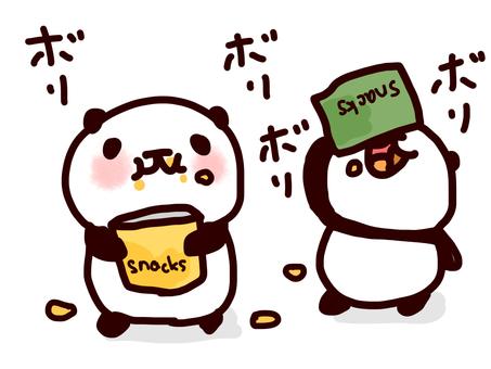 Panda eating snack