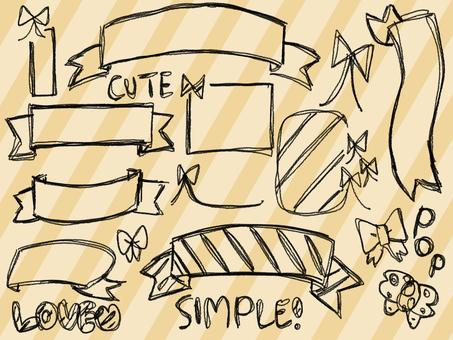 【Ribbon】 Simple handwriting 【Border frame】