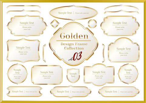 金のタイトルデザインフレーム 03