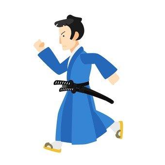 Samurai running