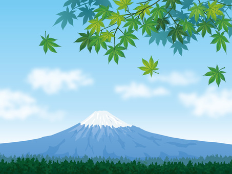 Mt. Fuji background with blue maple and refreshing blue sky