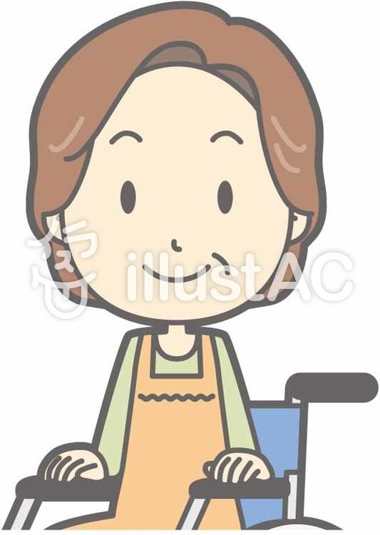 中年主婦a-車椅子笑顔-バストのイラスト