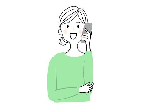 女人打電話與智能手機