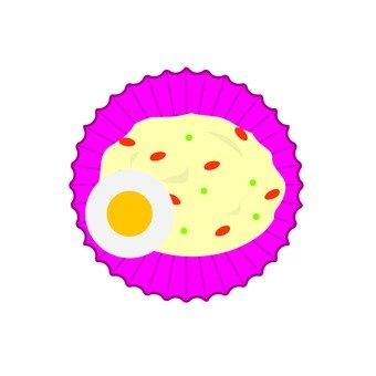 Potato salad and boiled egg