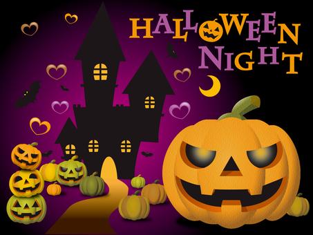 Halloween Night Pumpkin and Castle