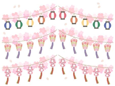 Spring _ Ohanami _ ぼ ん ぼ り _ Garland illustration