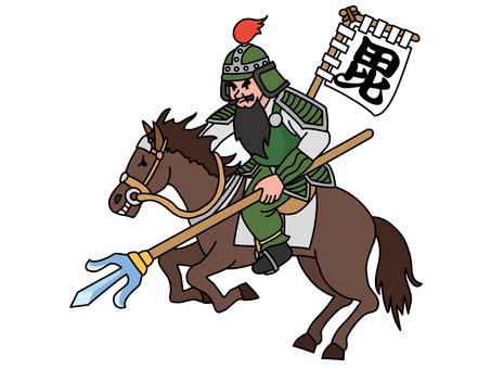 Bishamonten riding a horse