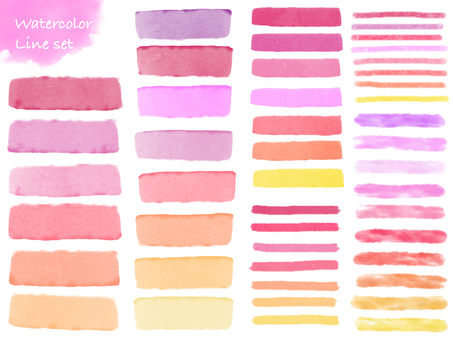 Watercolor line set pink