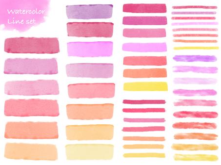 수채화 라인 세트 핑크