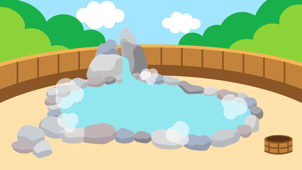 Brief background Hot spring open-air bath Wide 16: 9