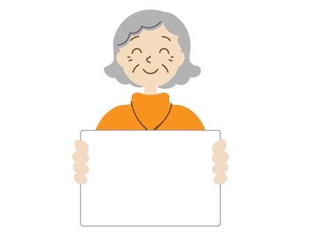 Senior woman with whiteboard
