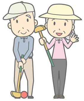 Elderly couple - Grand golf - whole body