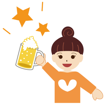 Cheers with beer! Image of women