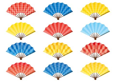 Fan 3 color 4 pattern set