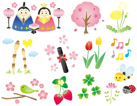 Hina Festival etc. Hand-painted spring illustration line none