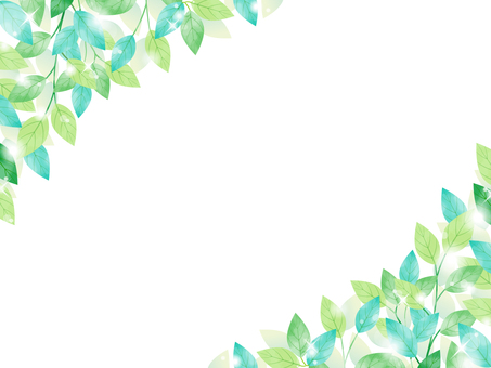 Fresh green / watercolor-like frame / transparent PNG