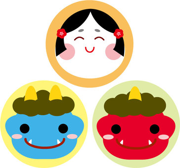 Setsubun Okame and cute blue demon, red onigiri