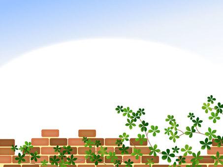 Red brick Sugar Bine blue sky frame