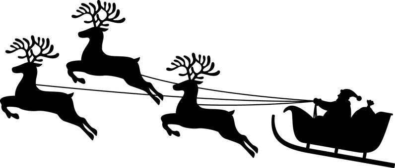 Santa Claus _ Sled _ Silhouette _ Black