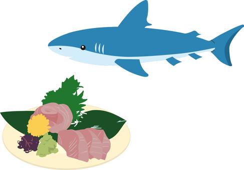 Tertiary shark crocodile sashimi