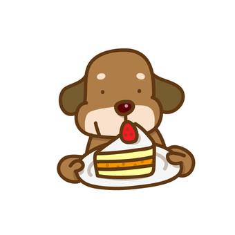 ケーキをもつ犬のイラスト