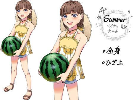 여자와 수박 여름