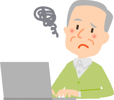 An old man in trouble with a personal computer