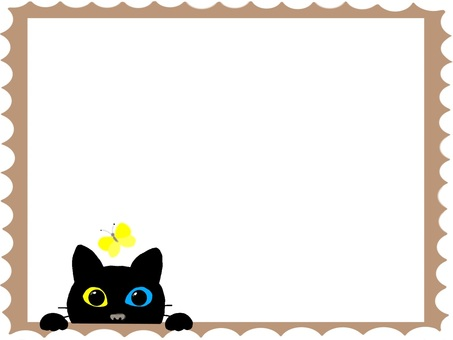 Black cat and butterfly (stamp series)
