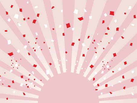 Sunrise of the pastel and red and white confetti