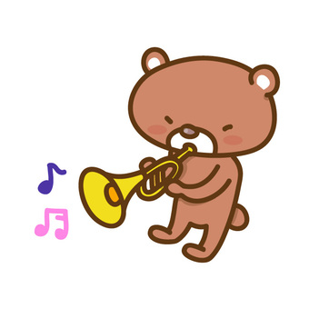 Bear playing trumpet