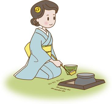 Kimono woman making tea