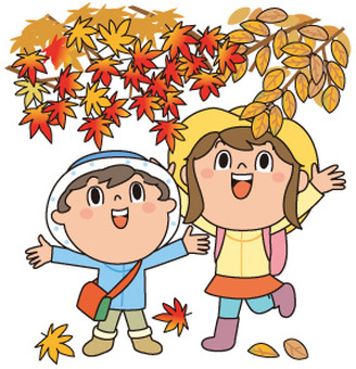 Autumn leaves and two children